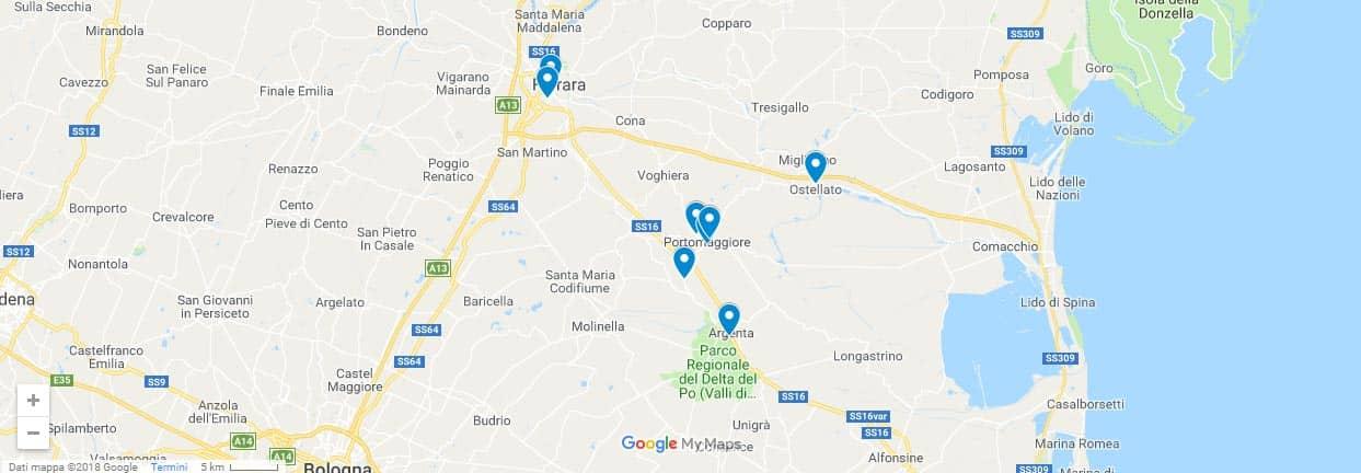 La mappa dei punti di carico dei pullman a Ferrara delle nostre gite organizzate di un giorno