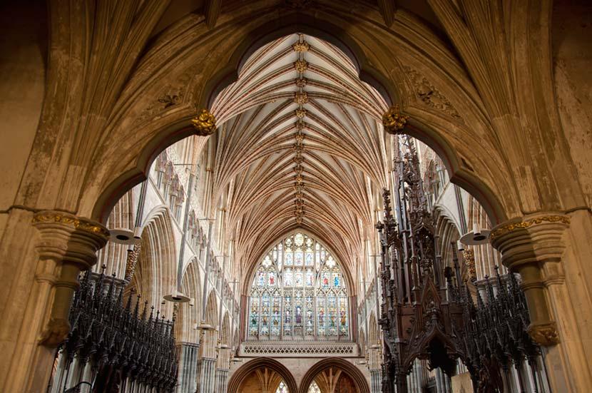 Interno della Cattedrale di Exeter in Cornovaglia