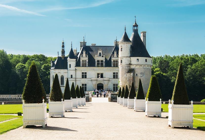 Viale ingresso del Castello di Chenonceau nella Valle della Loira