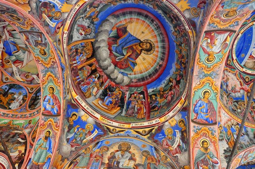 Dettaglio dei bellissimi affreschi del Monastero di Rila in Bulgaria