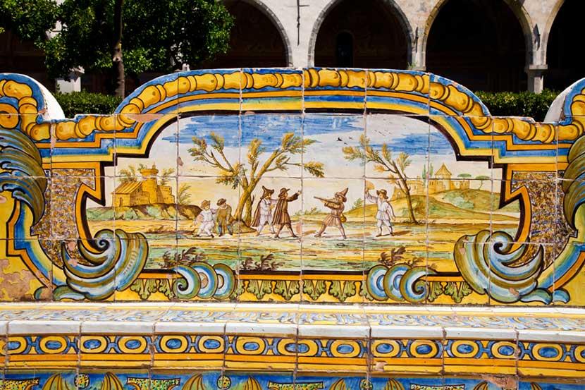 Dettaglio Chiostro del Monastero di Santa Chiara a Napoli