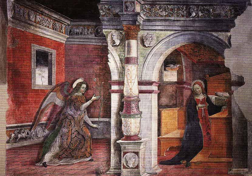 Affresco dell'Annunciazione all'interno della Cattedrale di Santa Maria Assunta a Bobbio