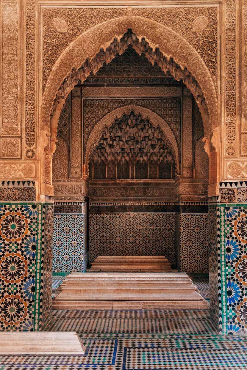 Volte decorate con maioliche all'interno delle Tombe Saadiane