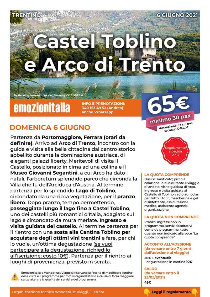 Gita-Organizzata-un-Giorno-Castel-Toblino-Arco-Trento-2021