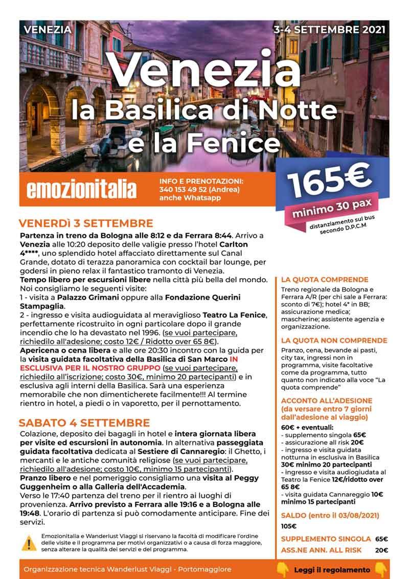 Viaggio-Organizzato-Gruppo-Venezia-Basilica-Notte-Fenice-2021