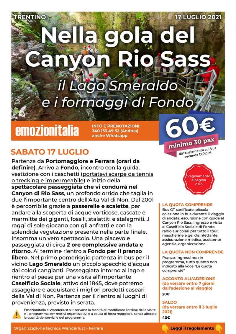 Gita-Organizzata-un-Giorno-Canyon-Rio-Sass-Lago-Smeraldo-2021