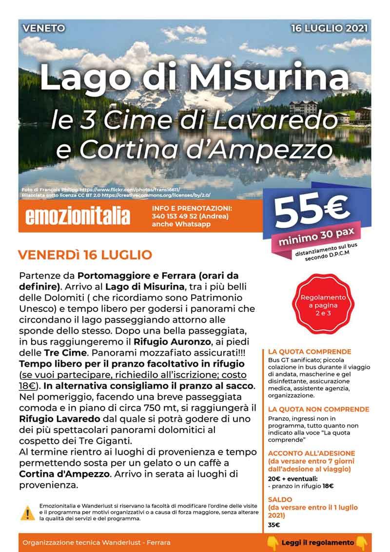 Gita-Organizzata-un-Giorno-Lago-Misurina-Cime-Lavaredo-2021