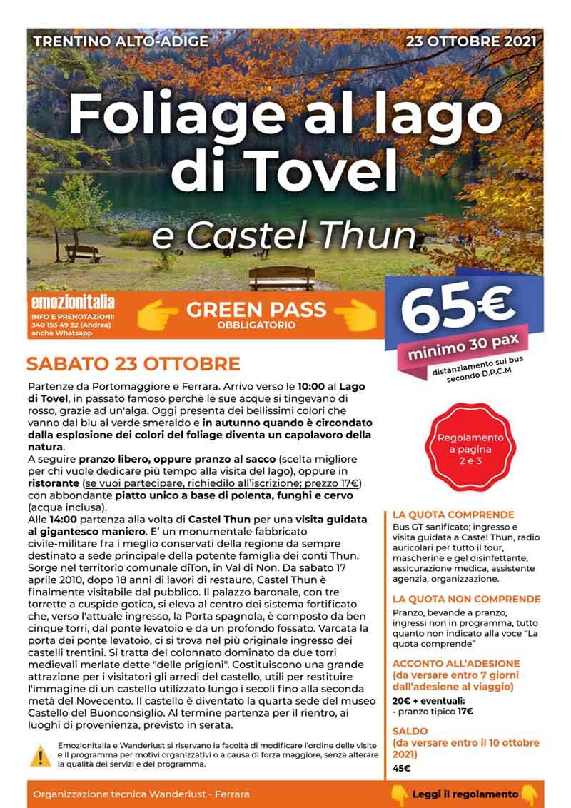 Gita-Organizzata-un-Giorno-Lago-Tovel-Castel-Thun-2021